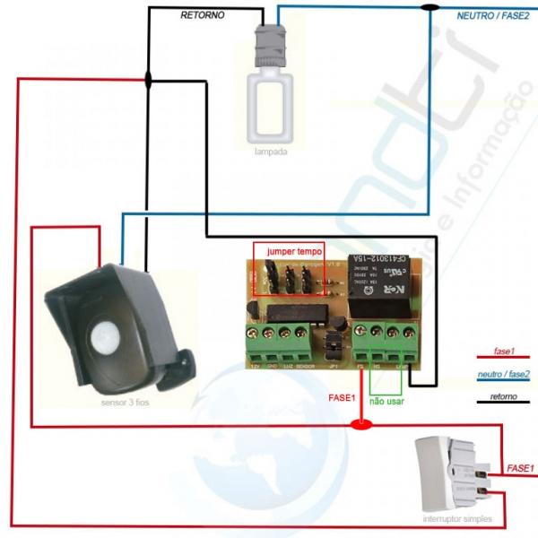 Sensor de presença + interruptor + placa luz de garagem